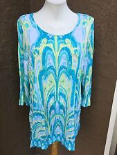 New Chico's Aqua White Ikat Texture Treat Tunic Top Shirt 2 = Large L 12 14 NWT
