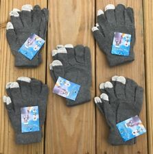 Lot of 5 Wholesale Gloves Touchscreen Winter Acrylic Gray Glove One Size Fit All