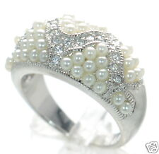 Solid 925 Sterling Silver Clear CZ & White Pearl Band Ring Size-7 '