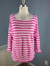 Ralph Lauren Pink White Stripe 100% linen Dolman Top L Casual 3/4 sleeve EUC