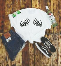 Skeleton Boobys T Shirt Tumblr Halloween UFO Womans Gift Festival Funny Goth Emo