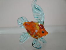 Hand Blown Murano Glass Art Orange And Blue Fish Figurine