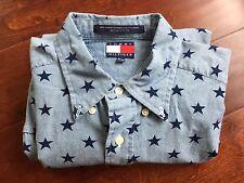 Vintage Tommy Hilfiger Button Front Shirt Light Blue Stars Print Crest Logo sz M