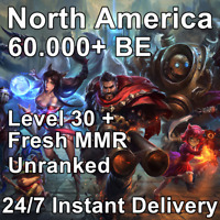 NA | League of Legends | Unranked Smurf Account | Lvl 30 | 60,000+ BE