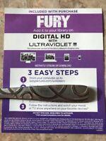 Fury. Brad Pitt. Digital HD Code! no Blu-ray Or DVD Canadian Digital HD Copy