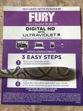 Fury. Brad Pitt. Digital HD Copy! no Blu-ray Or DVD Canadian Digital HD Code