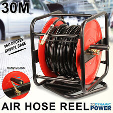 30m Hand Crank Air Hose Reel With Swivel Base 360 Degree Industrial Grade Tool