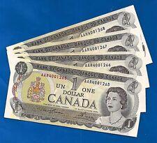 FOUR 1973 CANADA consecutive 1 ONE DOLLAR BILLS NOTES prefix AAR CRISP UNC