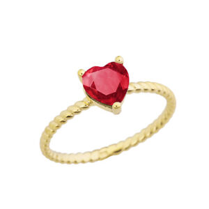 Solid 10k  14k Yellow Gold Ruby (LCR) Heart ♡ Rope  Dainty  Ring