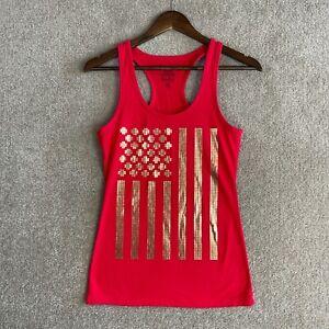Speedo Tank Top Womens Medium Red Racerback Shirt Gold Front Casual Workout