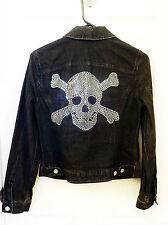 ***I.N.C. Cool Rhinestone SKULL w/Crossbones Black Jean Jacket! Size s Petite**