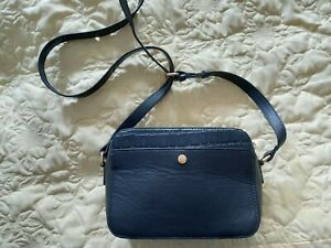 Ashwood Leather Zip Around 2 Section Small Crossbody Bag in Navy