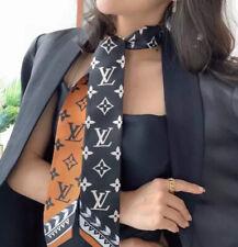 LV Crafty Bi Louis Vuitton orange and black cashmere  Monogram 100%silk  Scarf