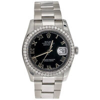 Mens Rolex DateJust 36 Diamond Watch 36mm Ref. # 116234 Black Roman Dial 1.50 CT
