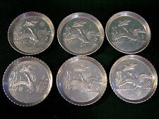 6 ~ Forged Aluminum Coasters w/Flying Ducks & Sea Grass