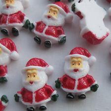 10Pcs CHRISTMAS EVE Resin Flatback Red Santa Buttons Scrapbooking Craft 19x24mm