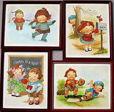 Campbell Soup Kids 4 Seasons Framed Prints Ice Skating Valentine Baseball School