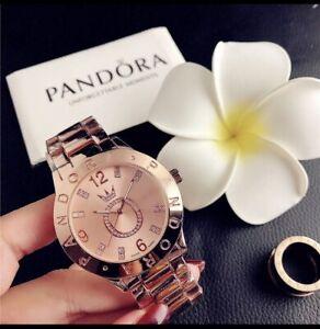 Beautiful Woman Pandora Rose gold Watch With Matching Charm