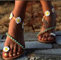 2019 Womens Boho Summer Beach Sandal Daisy Flower Flats Shoes Casual Slipper YJJ