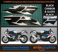BMW S1000RR Fairing Decals. 2015-18 - Black Carbon & Gloss Black Stickers