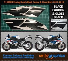 BMW S1000RR Fairing Decals. 2015-18 - Black Carbon & Gloss Black Stickers