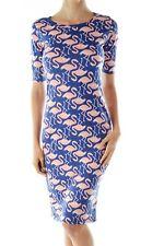 LuLaRoe Julia flamingo bodycon dress blue pink XS