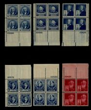 """United States (6) Different """"Famous Americans"""" Plate Blocks (4) Mint NH"""