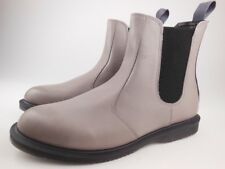 DR MARTENS Flora Grey Burnished Servo Lux Leather Chelsea Ankle Boots Size 11