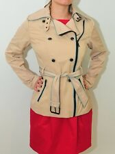 GUESS Belted Military Beige Zipper jacket Asymmetrical Trench Coat Small 2019