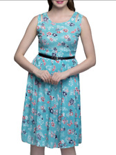 Blue(Light) Rayon Floral Printed Dress