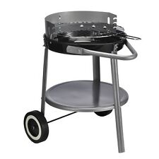Standgrill Rundgrill BBQ Grill auf Rollen schwarz silber