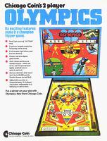 Chicago Coin OLYMPICS 1975 Original NOS Flipper Game Pinball Machine Sales Flyer