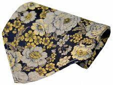 Posh and Dandy Mens Floral Silk Handkerchief - Gold/Navy/Silver
