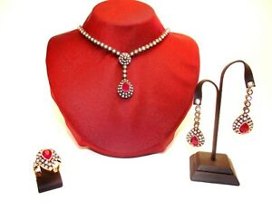 Turkish Handmade Drop of Ruby/Emerald/Sapphire Necklace With Rhinestones