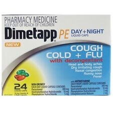* DIMETAPP PE DAY AND NIGHT 24 CAPSULES COUGH COLD FLU DECONGESTANT NON-DROWSY