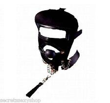 Maschera con guinzaglio e Morso Gag ball Nero bondage fetish black sexy shop