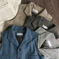 Mens Vintage Lapel Collar Slim Vest England Wool Blend Tweed Herringbone Vest