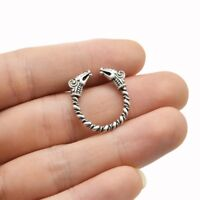 New Solid Adjustable Viking Ring Dragon Heads Norse Antique Silver UK Seller