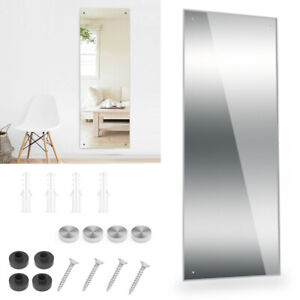 110CM Large Long Wall Mirror Bathroom Bedroom Glass Dressing Mirror White Fixing