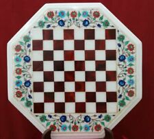 "18"" white marble chess table top center coffee inlay stone lapis handmade item"