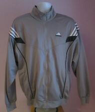 VTG Retro Mens ADIDAS Pale Grey/White Track Suit Sport Top Size Large