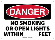 Osha Danger Safety Sign No Smoking Or Open Lights Within Feet