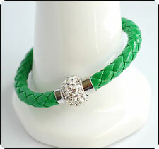 Mens Womens Leather Bracelet Bangle Silver Magnetic Rhinestone Free Gift Bag 72