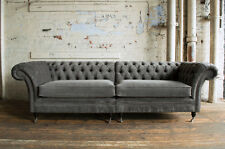 LARGE HANDMADE SPLIT 4 SEATER SLATE GREY VELVET CHESTERFIELD SOFA COUCH,