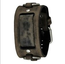 Nemesis Faded Brown/Black Ring Leather Watch Cuff Band FRB-KB Vintage Style 20mm