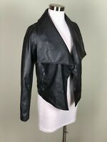 Soft Cropped Runway Chic Black Faux Leather Drape Front Urban Jacket Size XS
