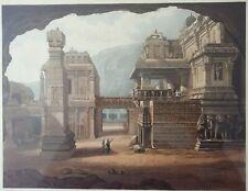 INDIA Original Colour Aquatint Print Temple Ellora Grindlay Ackermann 1826 RARE!