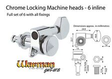 Chrome Locking Tuners, 6 inline for left handed guitars / reverse headstocks