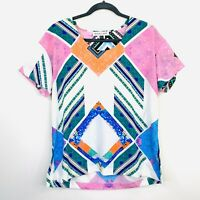 Shona Joy Womens Top Blouse Boho Short Sleeve Size 10