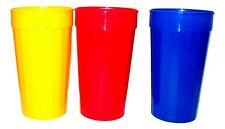 8 Big 32 Ounce Fluted Tumblers Mix of  Red Blue Yellow Made in USA
